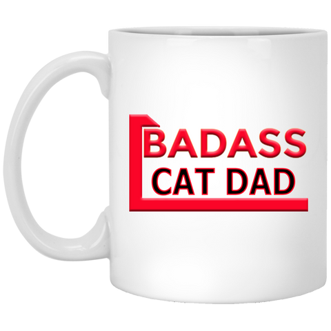 11 oz White Cat Coffee Mug Badass Cat Dad