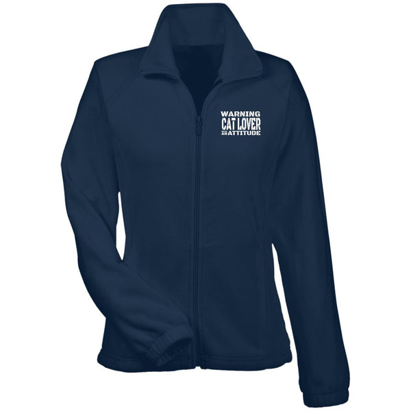 Navy Warning Cat Lover With An Attitude Fleece Jacket