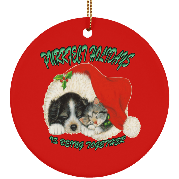 Round Red Cat Christmas Ornaments - Dog And Cat In Santa Hat - Cat Christmas Tree Ornament