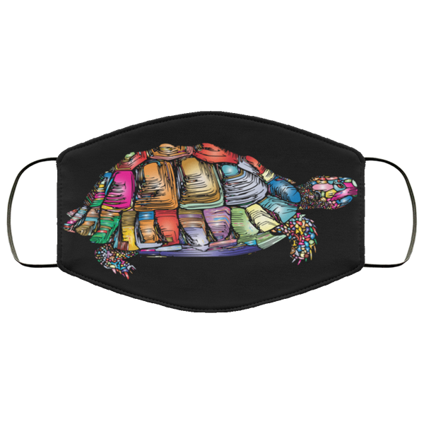 Colorful Turtle Art Face Mask black