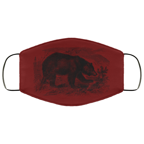 bear pencil art face mask maroon