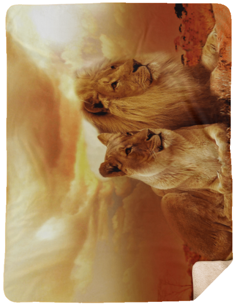 Lion and Lioness Sheepskin Sherpa Blanket 60x80