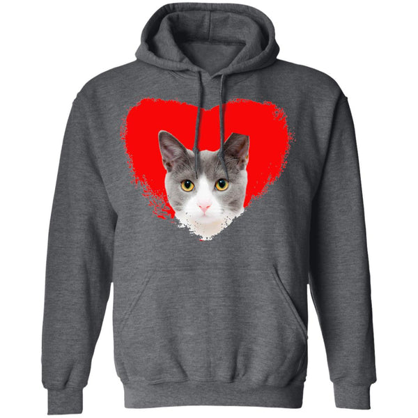 Dark Heather Cat Pullover Hoodie I Love Cats