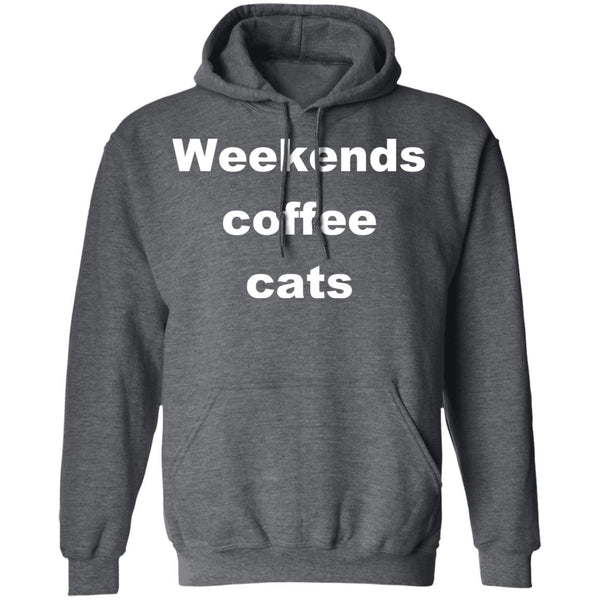 Dark Heather Cat Pullover Hoodie - Weekends Coffee Cats