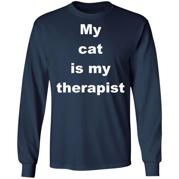 Navy Cat Long Sleeve Tshirt - My Cat Is My Therapist