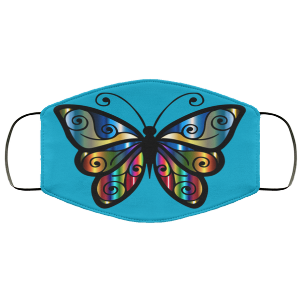 Abstract Butterfly Face Mask, Washable, Reusable, Breathable Two Layer Protective Face Mask
