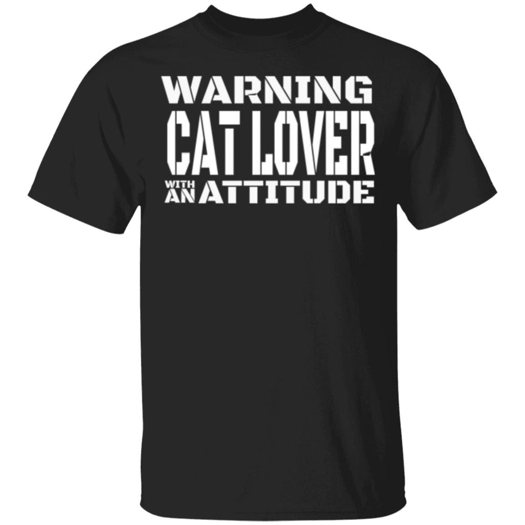 Black Cat Lover T-Shirt - Warning Cat Lover With An Attitude