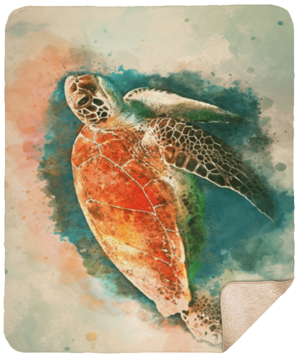 Watercolor Art Sea Turtle Sherpa Blanket 50x60