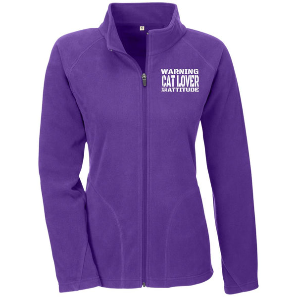 Purple Warning Cat Lover With An Attitude Microfleece