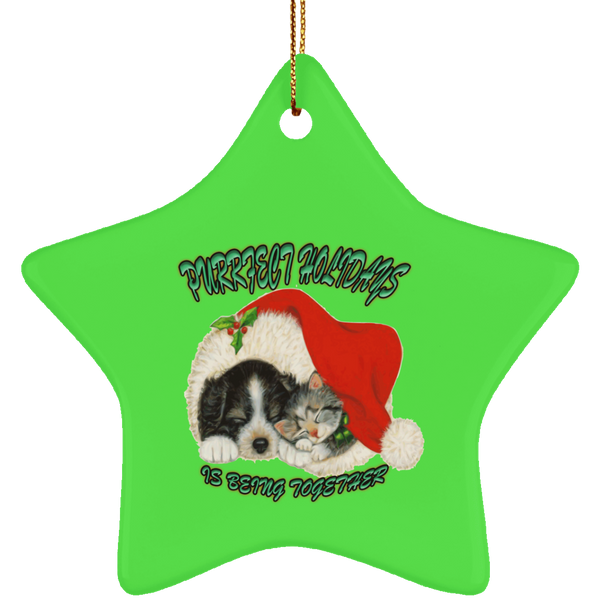 Star Green Cat Christmas Ornaments - Dog And Cat In Santa Hat - Cat Christmas Tree Ornament