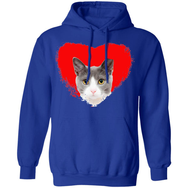 Royal Blue Cat Pullover Hoodie I Love Cats