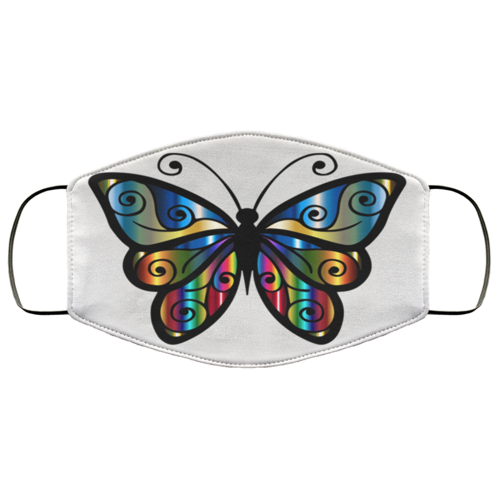 abstract butterfly print face mask white