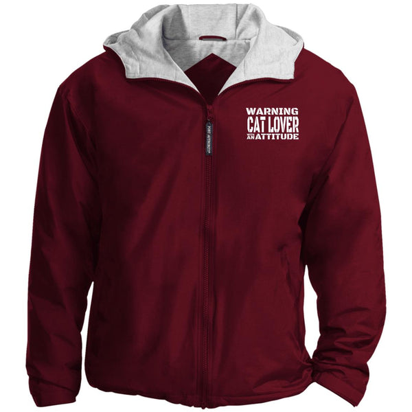 Maroon Warning Cat Lover With An Attitude Port Authority Team Jacket