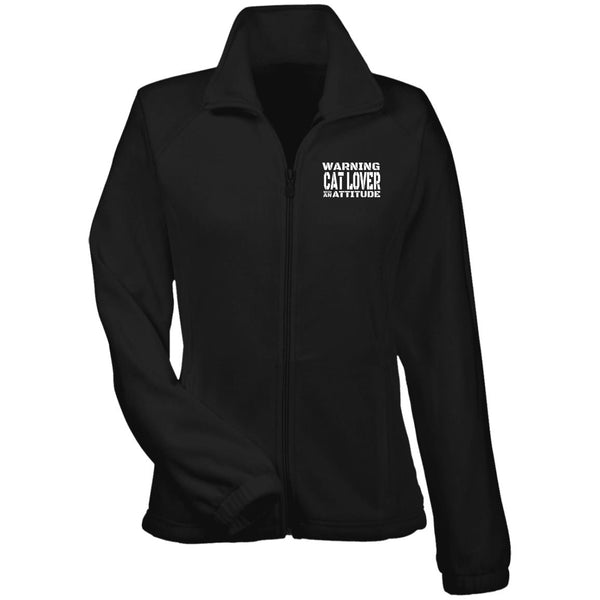 Black Warning Cat Lover With An Attitude Fleece Jacket