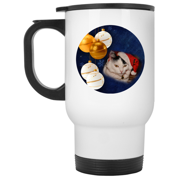 14 oz White Cat Christmas Travel Mug - Black and White Cat In Santa Hat