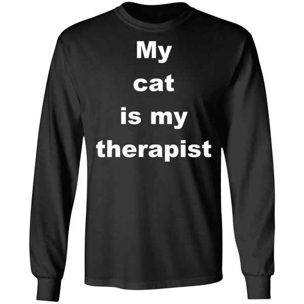 Black Cat Long Sleeve Tshirt - My Cat Is My Therapist