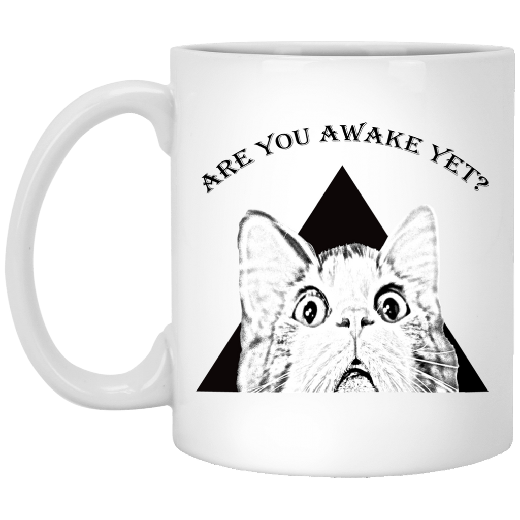 11 oz White funny cat mug Are You Awake Yet