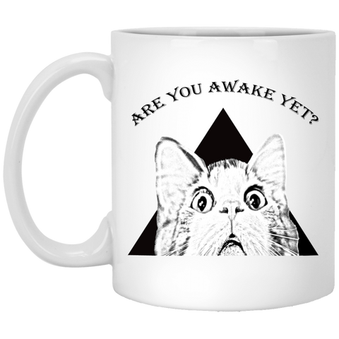 Funny Cat Coffee Mug Are You Awake Yet 11 oz White Ceramic Novelty Cup
