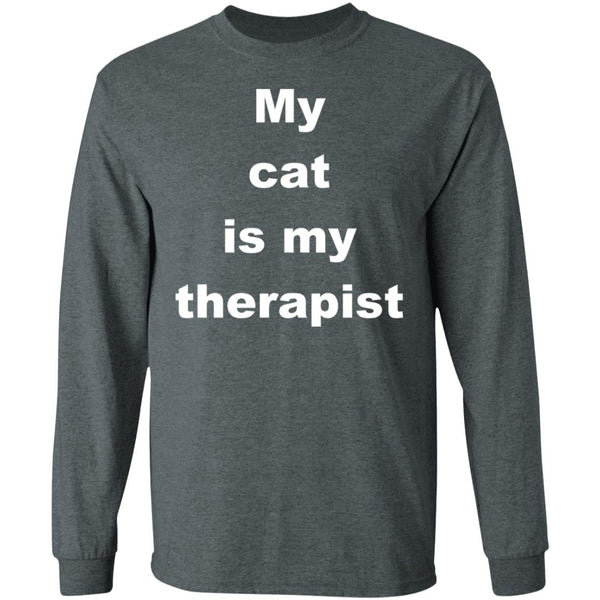 Dark Heather Cat Long Sleeve Tshirt - My Cat Is My Therapist