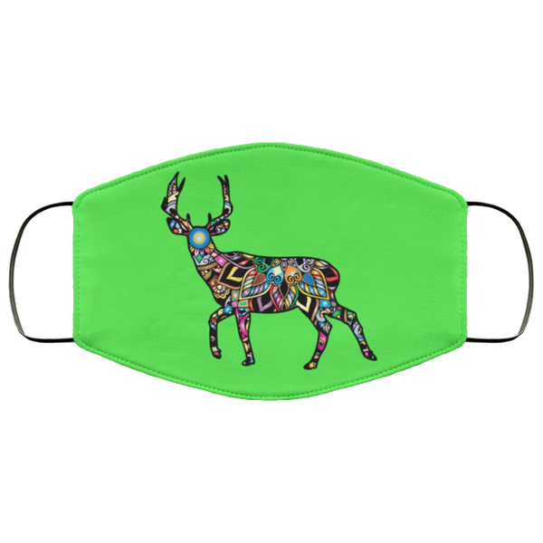 colorful deer print face mask kelly green