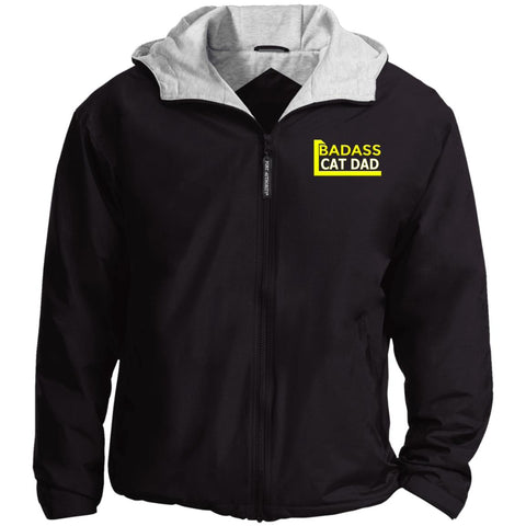 black Cat Lovers Nylon Fleece Lined Jacket - Badass Cat Dad