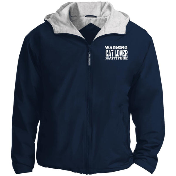 Navy Warning Cat Lover With An Attitude Port Authority Team Jacket