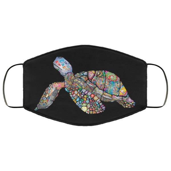 Colorful Sea Turtle Print Face Mask black