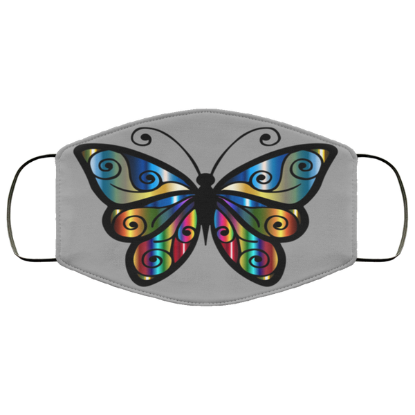 abstract butterfly print face mask gray