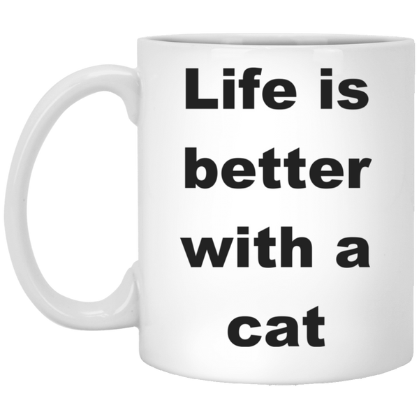 11 oz White Cat Coffee Mug - Life Is Better With A Cat Ceramic Cup