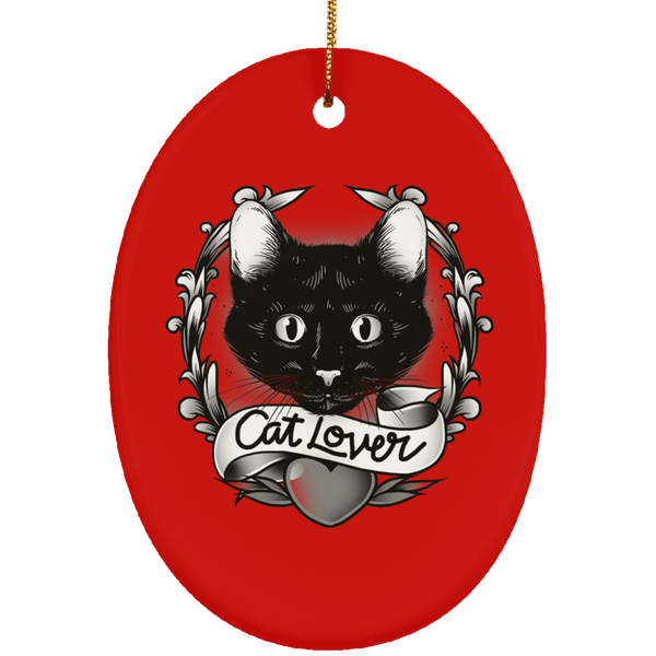 Oval Red Ceramic Ornament For Cat Lovers