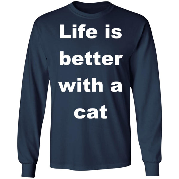 navy Cat Lovers Long Sleeve Shirt - Life Is Better With A Cat