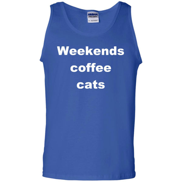 Royal Blue Cat Tank Top - Weekends Coffee Cats