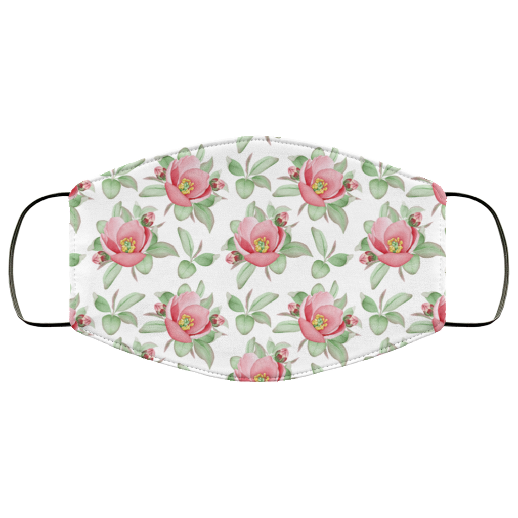 floral watercolor dog roses face mask