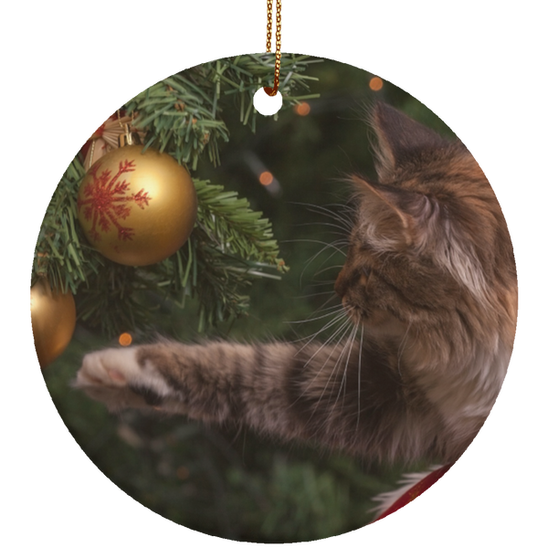 Round Red Ceramic Cat Christmas Ornament - Cat Christmas Tree Ornament - Cat Ceramic Ornament