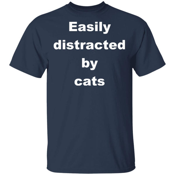 navy Funny Cats Shirt - Easily Distracted By Cats