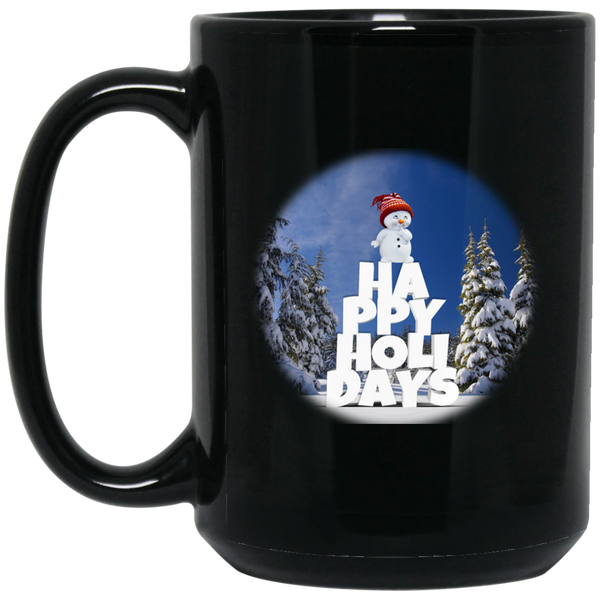 15 oz Black Snow Baby Happy Holidays - Christmas Mug