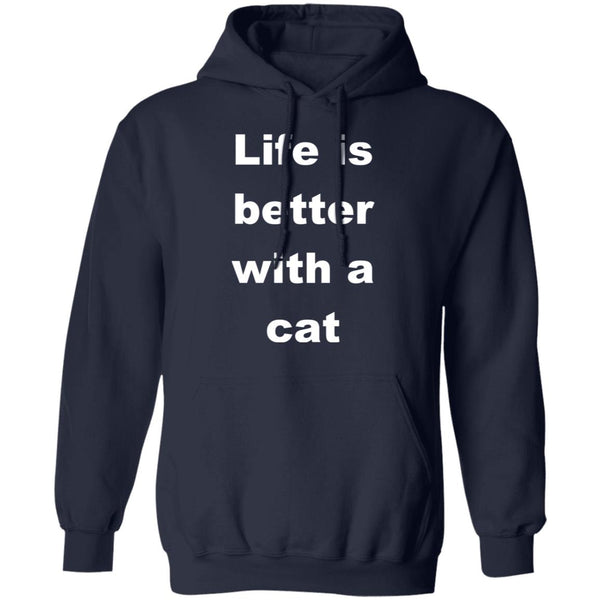 Navy Cat Lovers Pullover Hoodie - Life Is Better With A Cat