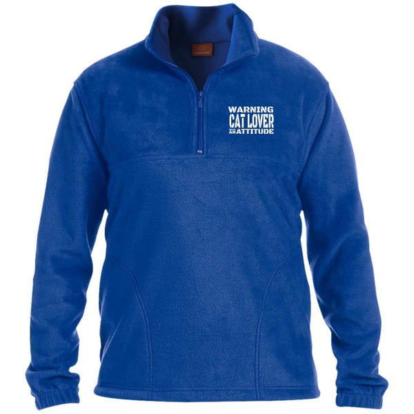 Royal Blue Warning Cat Lover With An Attitude Zip Fleece Pullover