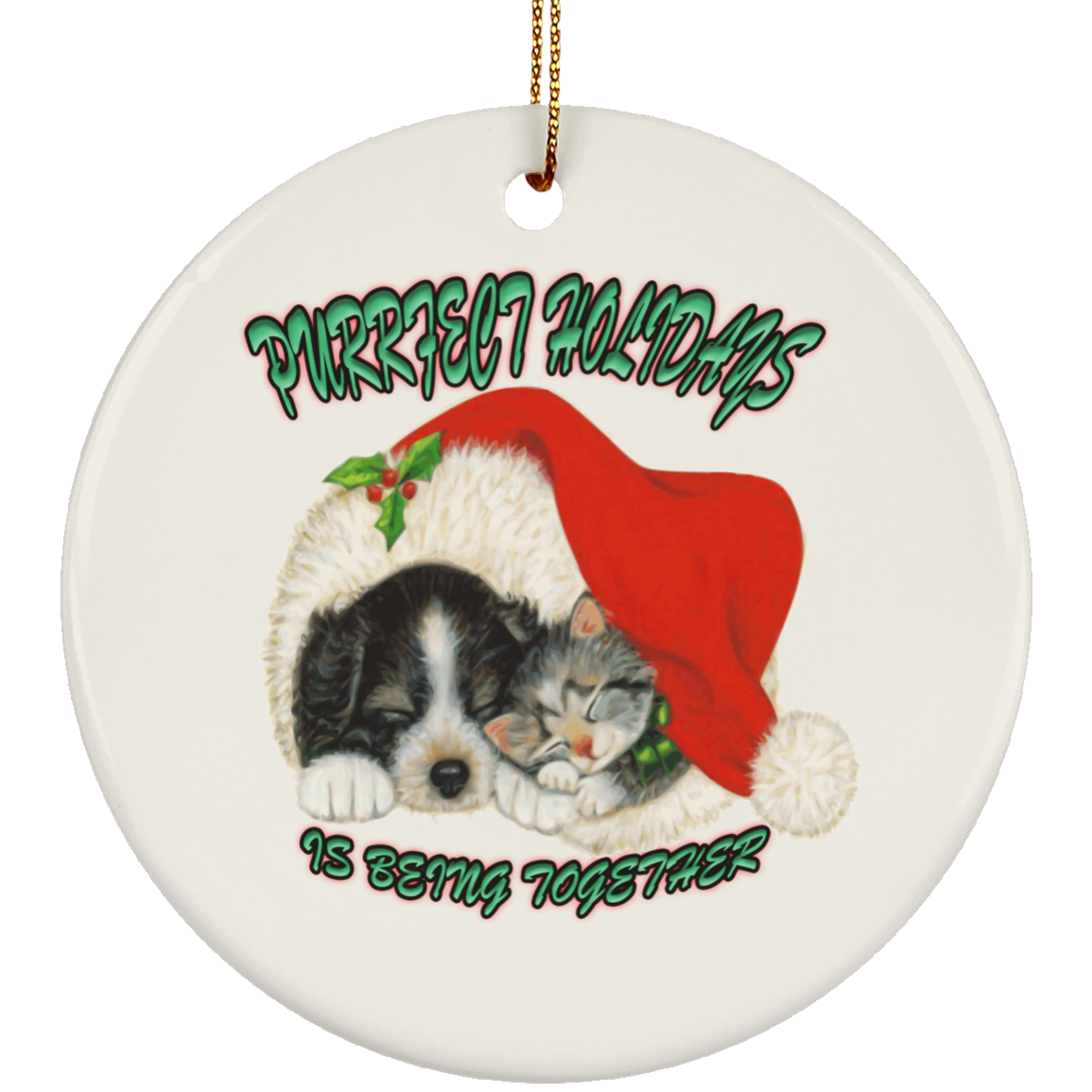 Cat Christmas Ornaments   Dog And Cat In Santa Hat   Cat Christmas Tree Ornament
