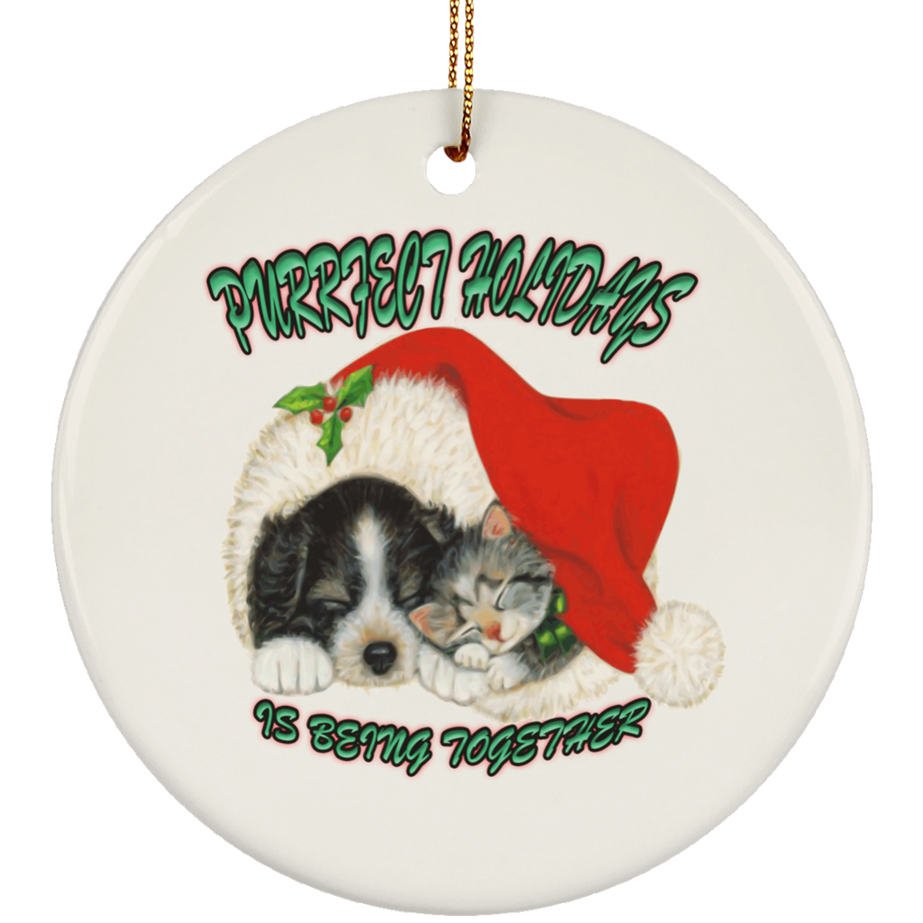Round White Cat Christmas Ornaments - Dog And Cat In Santa Hat - Cat Christmas Tree Ornament