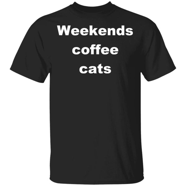 Black Cat T-Shirt - Weekends Coffee Cats