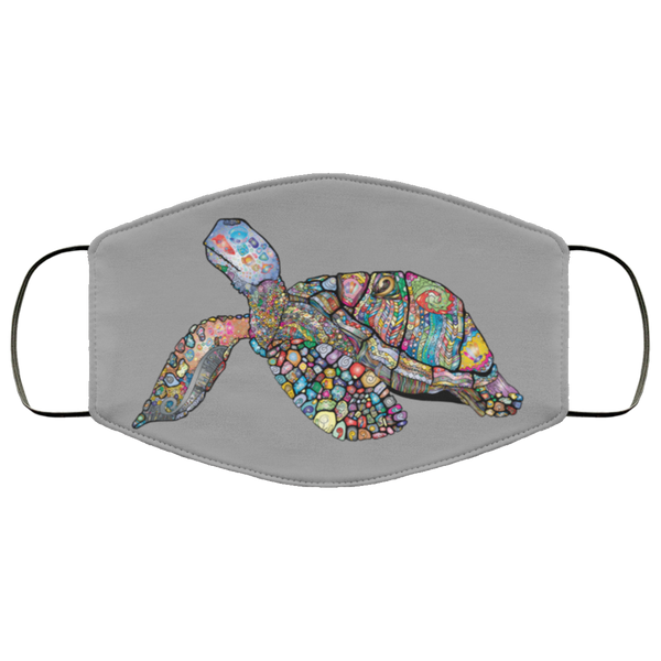 Colorful Sea Turtle Print Face Mask gray