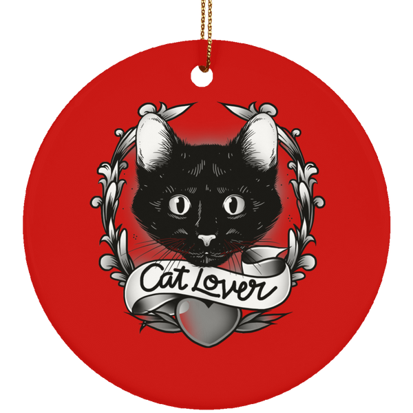 Round Red Ceramic Ornament For Cat Lovers