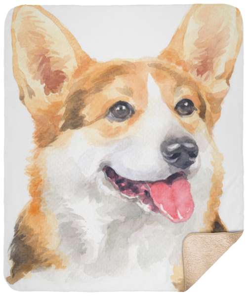 Watercolor Corgi Portrait Sherpa Blanket 50x60