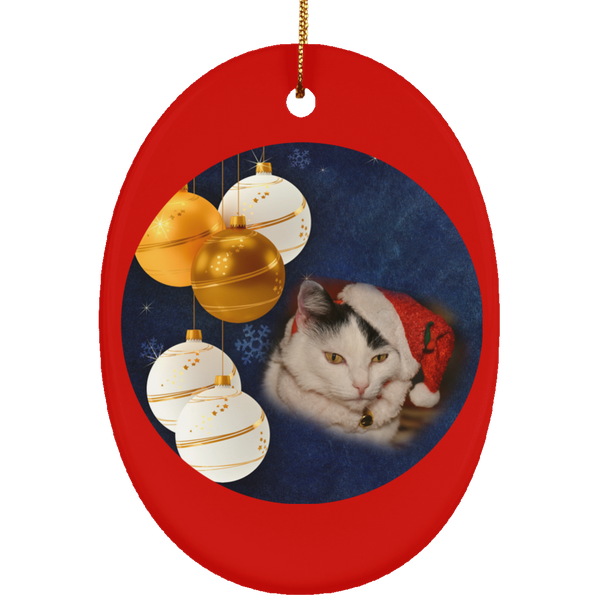 Oval red Cat Christmas Ornament