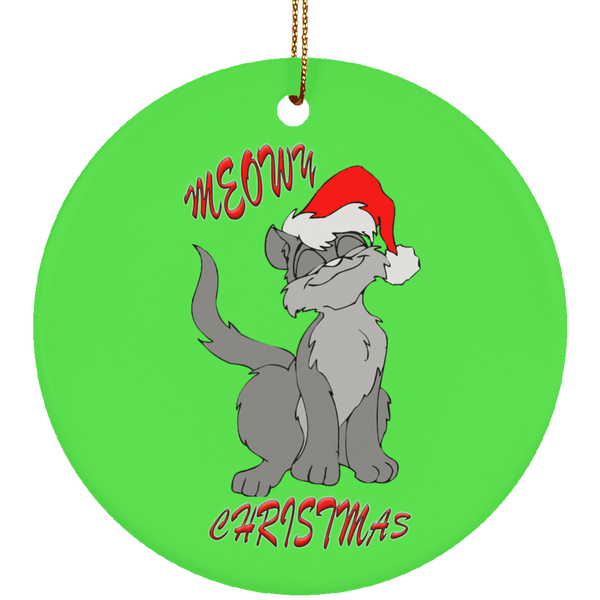 Green Round gray cat christmas ornament