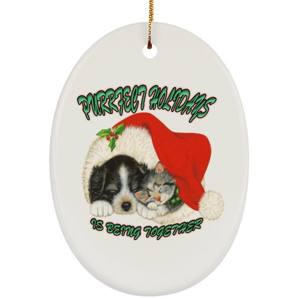 Oval White Cat Christmas Ornaments - Dog And Cat In Santa Hat - Cat Christmas Tree Ornament