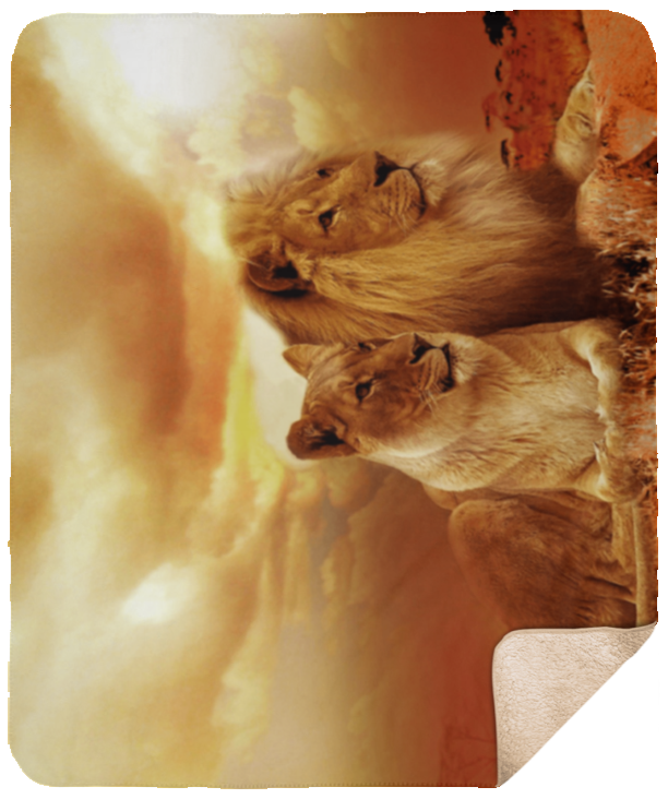 Lion and Lioness Sheepskin Sherpa Blanket 50x60