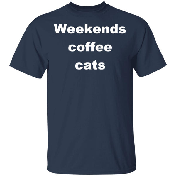 Navy Cat T-Shirt - Weekends Coffee Cats
