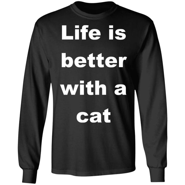 Black Cat Lovers Long Sleeve Shirt - Life Is Better With A Cat